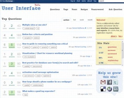 User Interface – Stack Exchange